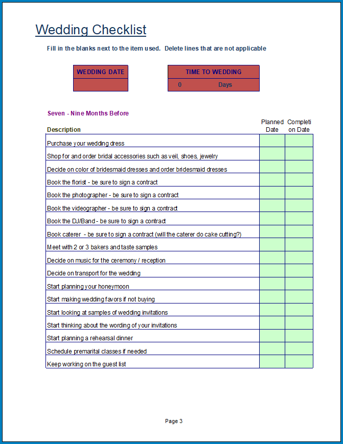 Free Printable Wedding Checklist Template Excel