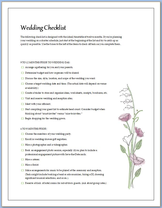 Free Printable Wedding Checklist Template