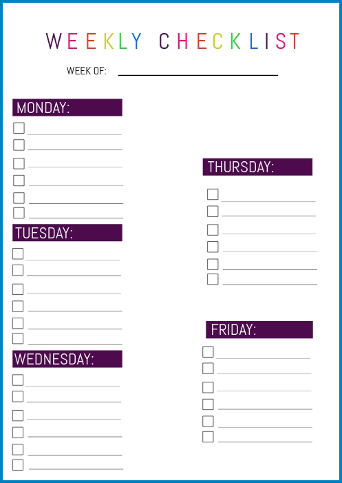 Weekly Checklist Template Example